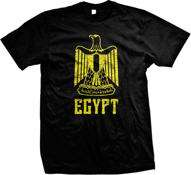 Camisetas de hombre de moda de manga corta cuello redondo de algodón abrigo de brazos de Egipto águila de Saladín de el Egipto camiseta personalizado