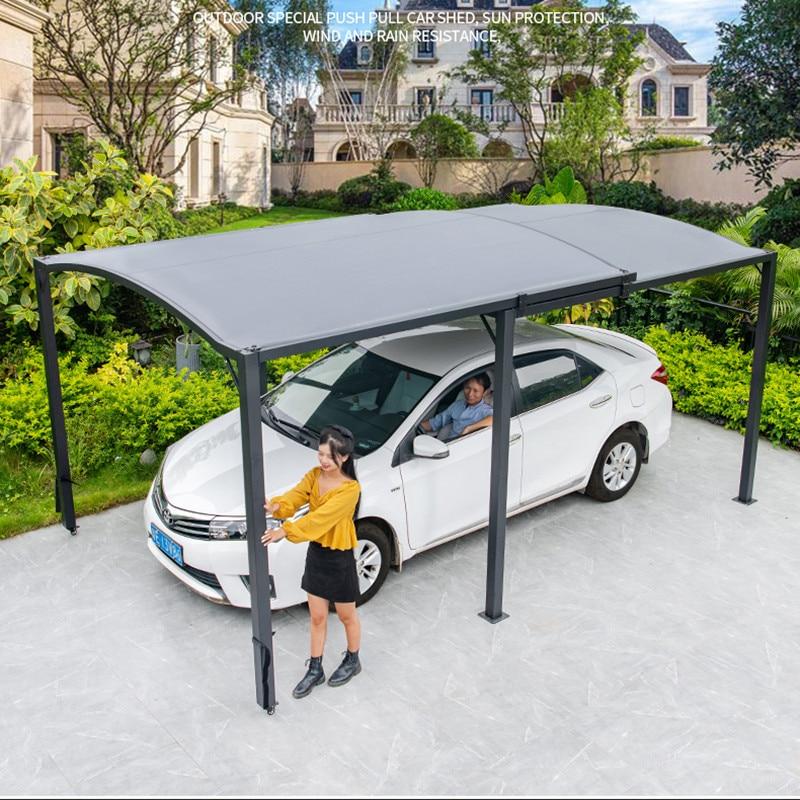 2.9x5.5 متر في الهواء الطلق المظلة انزلاق قابل للسحب الألومنيوم حديقة جناح فناء سيارة الظل مرآب لسيارة المطر المأوى