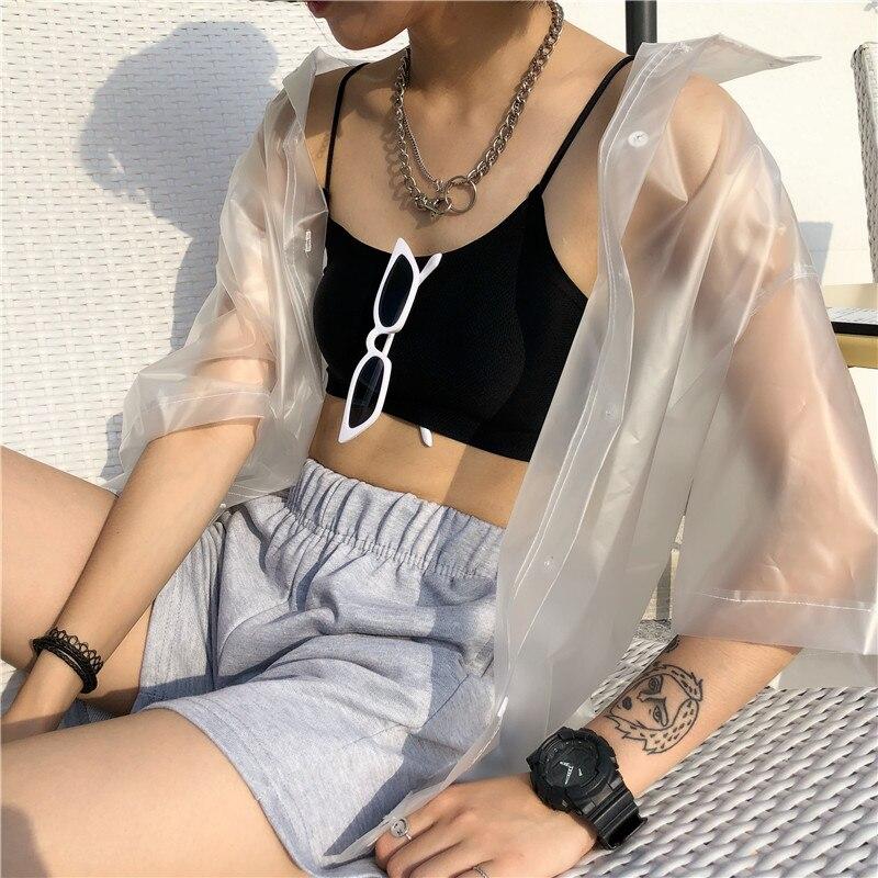 Unisex plástico perspectiva impermeable camisas de manga corta chaqueta impermeable Turn Down Collar Cardigan Top corto de una sola hilera