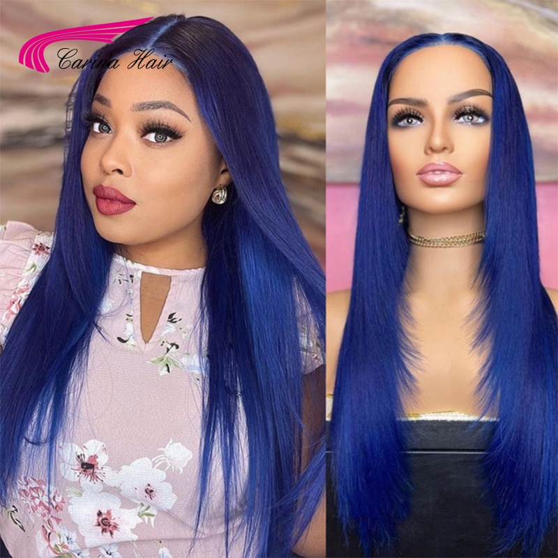 Blue Lace Front Human Hair Wigs  180 Density Lace Frontal Wigs Pre Plucked Wig For Black Women Color