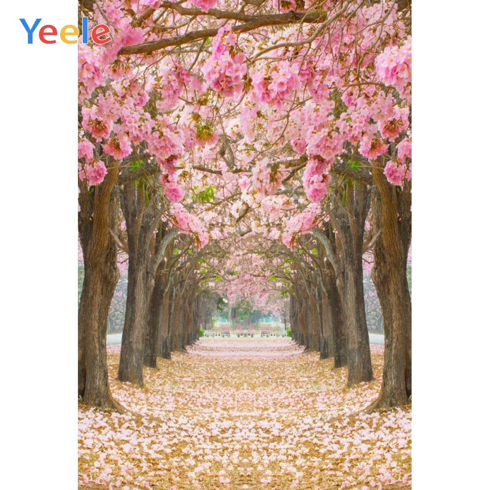 Yeele Pink Cherry Blossoms Tree Photo Background Photophone Pinewood Photography Backdrops Studio Shoots for Baby Newborn Cake