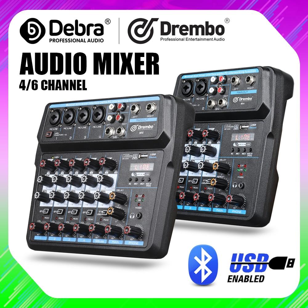 Drembo 4/6 قناة بروتابلي الرقمية جهاز مزج الصوت وحدة التحكم مع كارت الصوت ، بلوتوث ، USB ، 48 فولت الطاقة الوهمية لتسجيل DJ الكمبيوتر