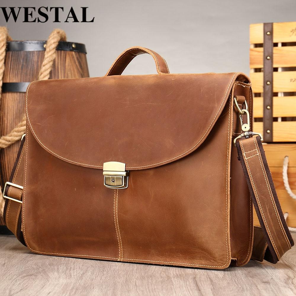 WESTAL Men's Briefcase For Men's Bag For Document Laptop Bag 14'' Handbags Genuine Leather Male Bags Leather Messenger Bags 364
