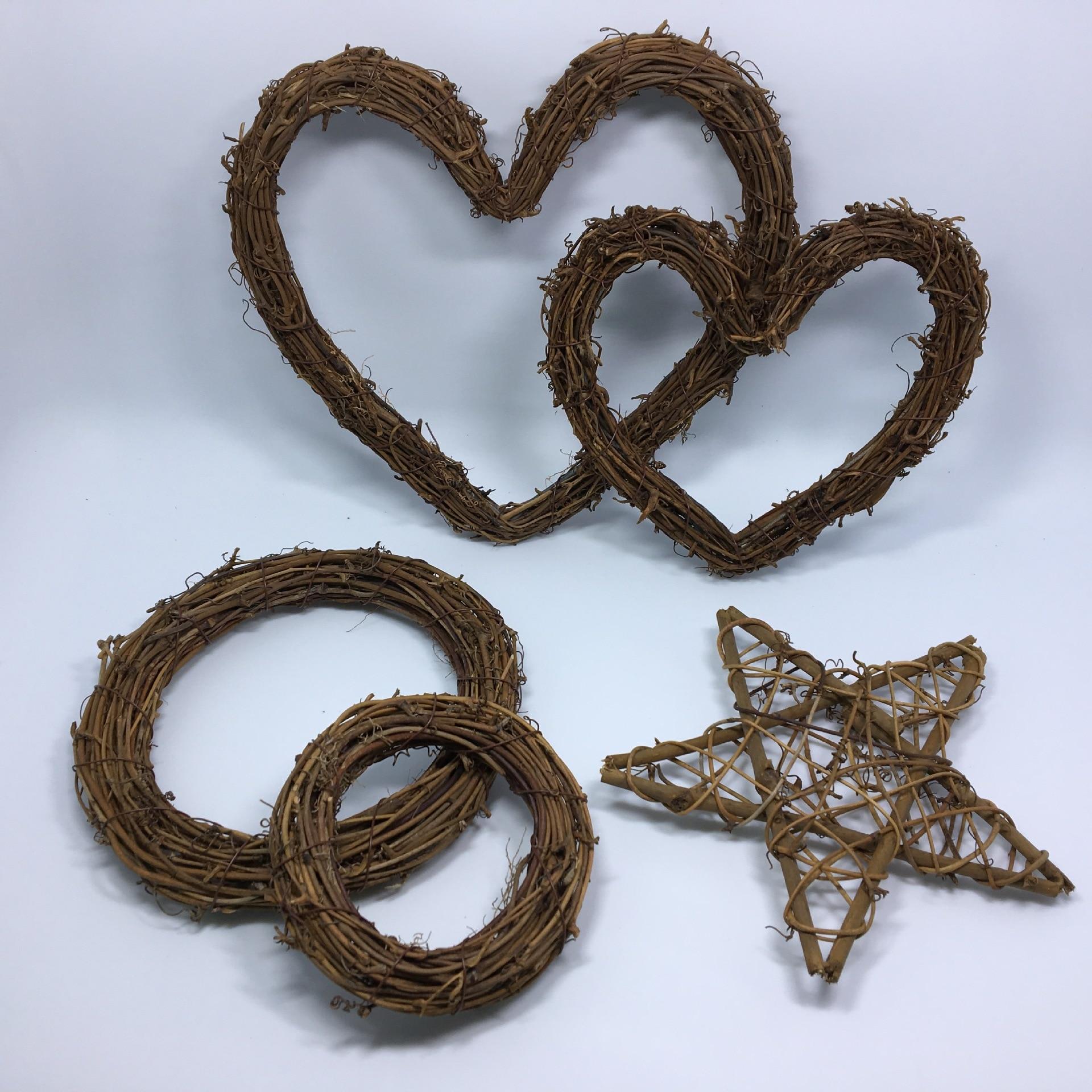 Anillo de mimbre de estrella redonda de corazón, guirnalda de flores artificiales, marco de flores secas para decoración del hogar de Navidad, flores para boda DIY, coronas