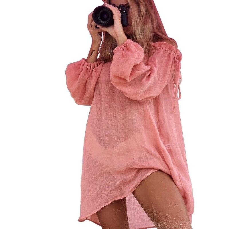 2021 algodão quente vestido de praia cobrir moda nadar praia túnica manga longa beachwear ombro bikini mulher cobrir túnica # y7