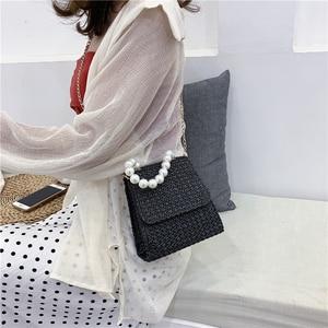 Luxury HandBag for Women Bags Brand Designers 2020 Summer Fashion Straw Weave Bag Shoulder Crossbody Bags Ladies Pearl Chain Bag