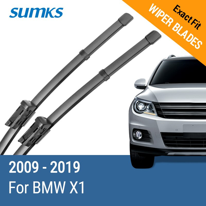 SUMKS limpiaparabrisas para BMW X1 Fit tipo Pinch/Slim botón armas 2009, 2010, 2011, 2012, 2013, 2014, 2015, 2016, 2017, 2018, 2019