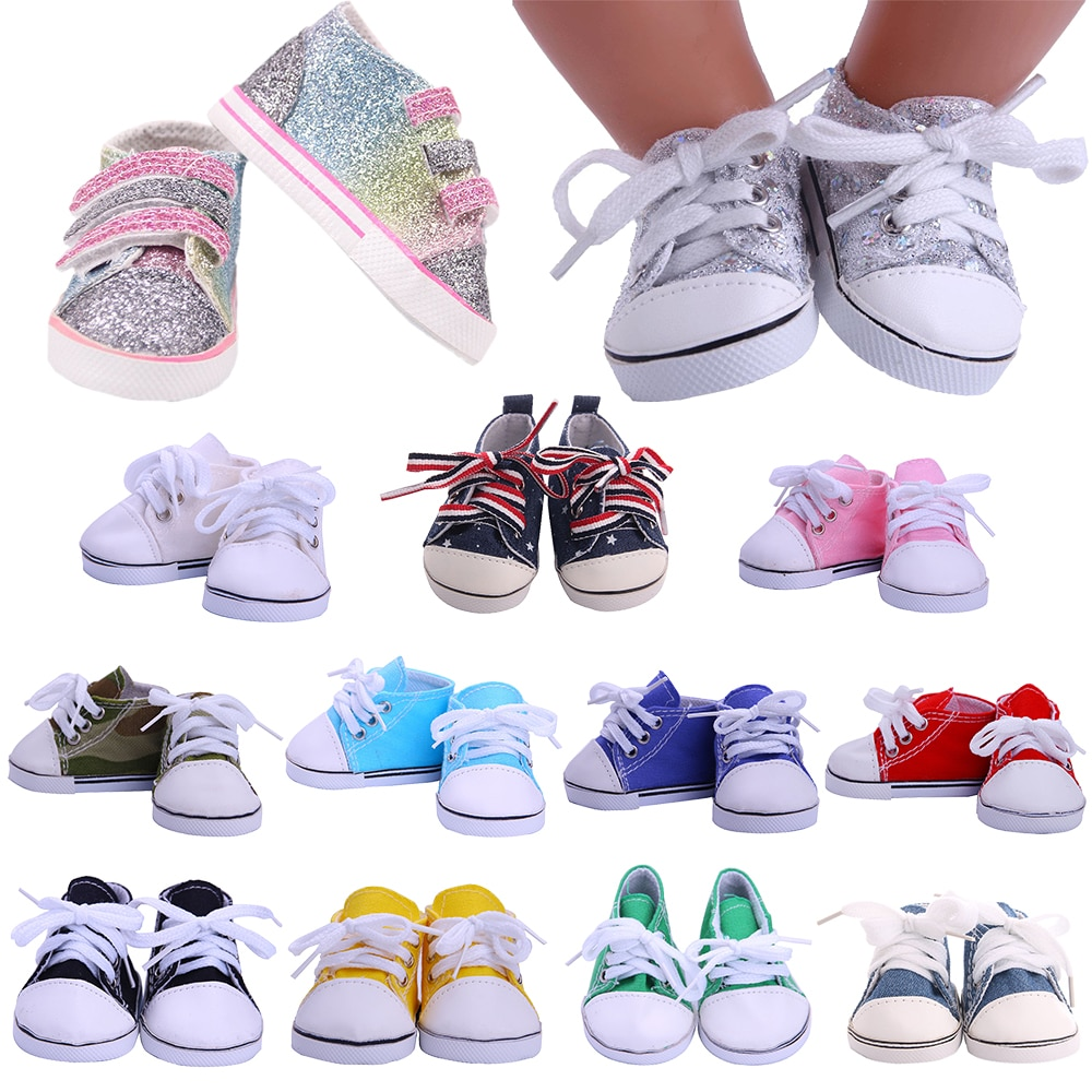 14 Styles 7 cm Canvas Doll Shoes Clothes Accessories For 43 cm Born Baby Clothes 18 Inch American Do