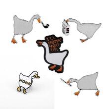 TV Friends Pins White Goose Brooch Enamel Pins Cute Cartoon HONK Goose Vintage Men Women Backpack Collar Lapel Badges Gift
