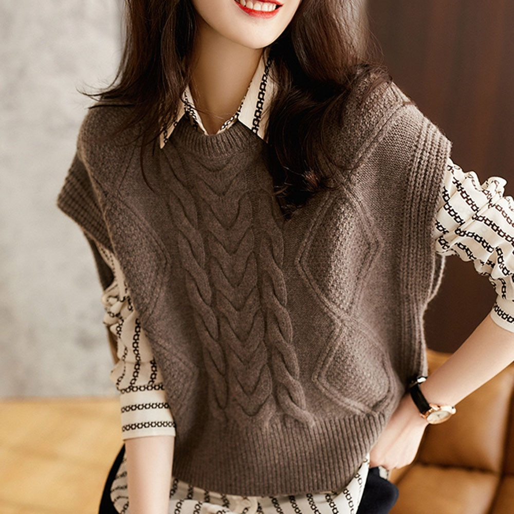 Vrouwen Wollen Trui Herfst Ronde Hals Effen Mouwloze Top Koreaanse Stijl Mode Dames Kasjmier Twist Vest Gebreide Vest