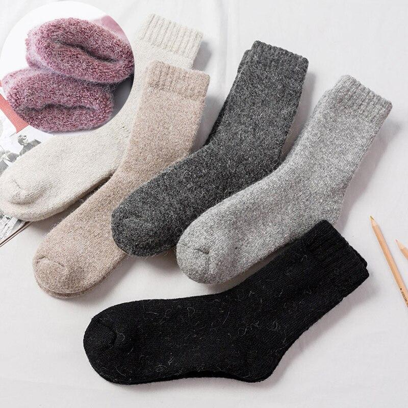 Новые модные теплые зимние очень толстые шерстяные носки мужские и женские теплые шерстяные носки толстые и бархатные однотонные шерстяны...