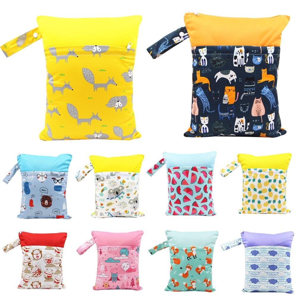 Asenappy polyester PUL Waterproof Baby Bags for Mom Baby Stroller Use 30*37cm Double Packet Diaper Wet Bag