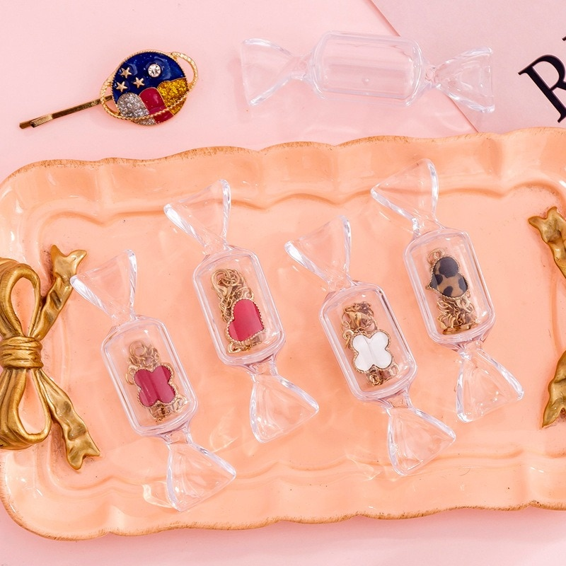 Caja de almacenaje para maquillaje transparente con forma de dulce para chicas adolescentes, 1 unidad, Mini pendientes portátiles, bolsa de joyería, organizador de viaje para cosméticos