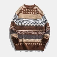 womens autumn winter vintage striped sweaters pullover knitted sweater nordic style turtleneck retro jacquard women clothes