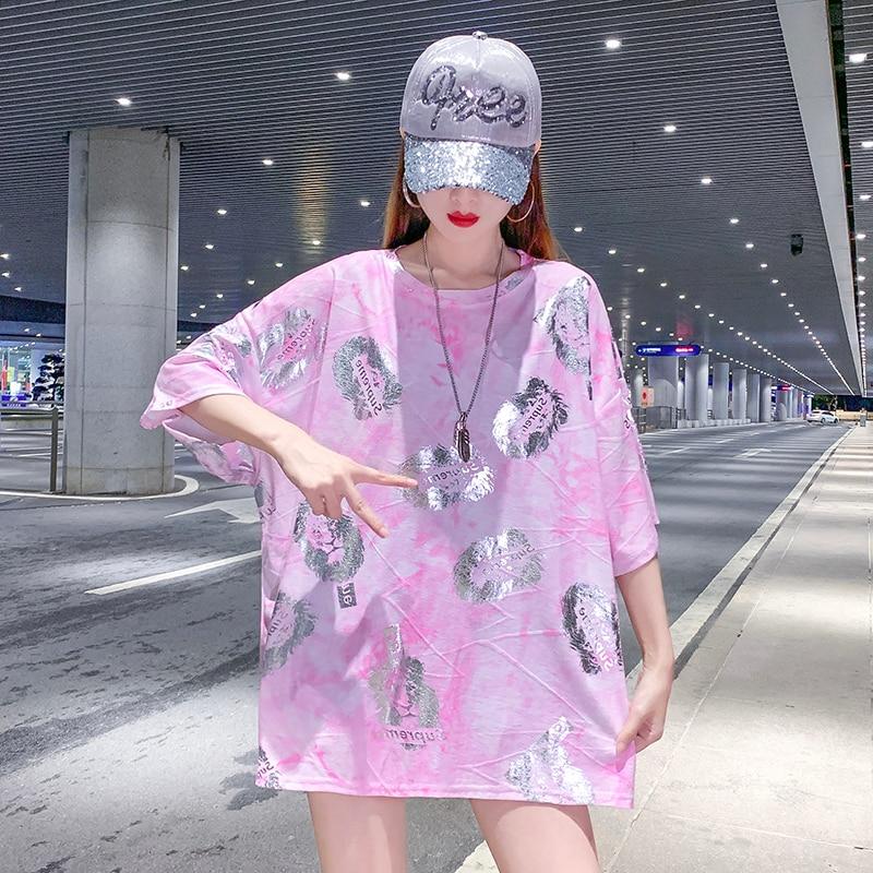 Chemise Longue Femme Versized camiseta mujer moda Hip Hop camiseta Popsocket camiseta camisetas de talla grande Tops señora verano 2020