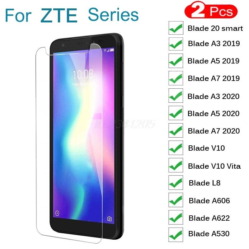 2 uds vidrio templado para ZTE Blade 20 inteligente A3 A5 A7 2019 2020 A622 L8 V10 Vita A530 Protector de vidrio Protector de pantalla de película cubierta