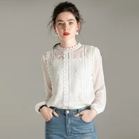100 silk blouse women shirt casual style solid vintage embroidery design ruffles o neck long sleeves graceful new fashion