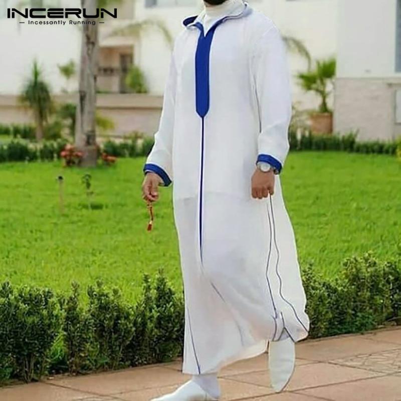 Мусульманский кафтан INCERUN в стиле пэчворк, Мужской винтажный кафтан с капюшоном для Ближнего Востока, Свободный Повседневный кафтан с длинн... twinset кафтан
