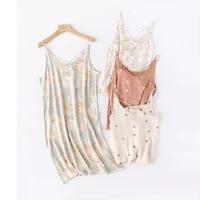 104 printed cross strap sleep dress women underwear lingerie stain nightgown v neck sexy nightdress silk sleeping home nighty