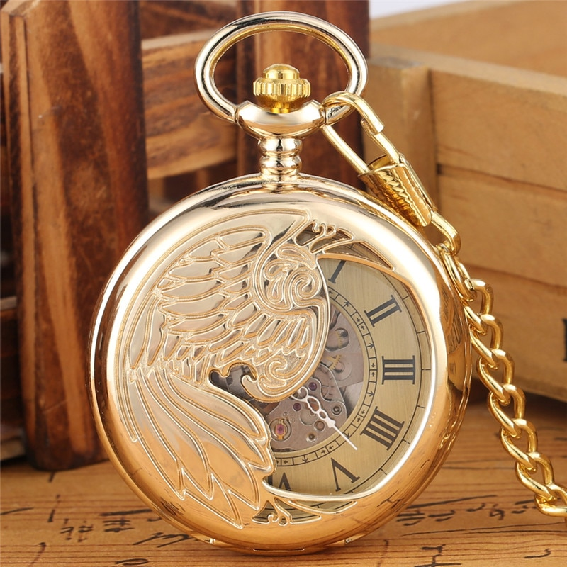 Luxury Hollow Phoenix Pocket Watch Unisex Automatic Mechanical Watches Fob Pendant Chain Yellow Gold Roman Number Timepiece Gift