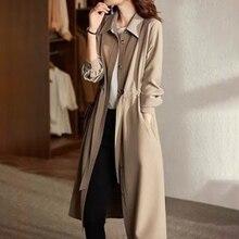 Women's Long Trench Coat Single-Breasted Khaki Plain Pocket Sweet Overcoat Office Lady Windbreaker N