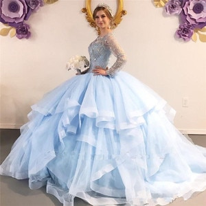 Lighk Sky Blue Long Sleeve Quinceanera Dresses Ball Gown Layer Tulle Skirt Bling Sequined Keyhole Backless with Corset Sweet 16