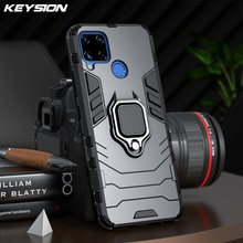 KEYSION Shockproof Armor Case for Realme C15 C17 C12 C11 V5 Ring Stand Silicone Phone Back Cover for