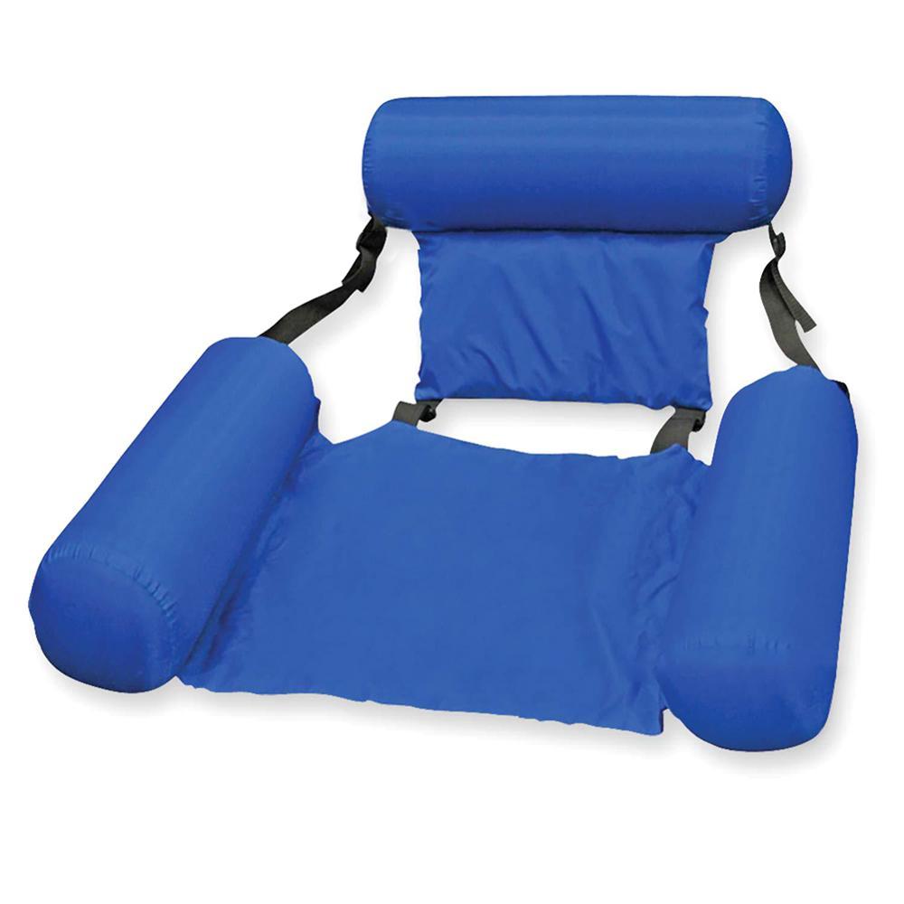 Silla flotante azul grande de 120cm para piscina, asiento plegable portátil para natación, colchón de aire, accesorios para cama de agua para adultos y niños