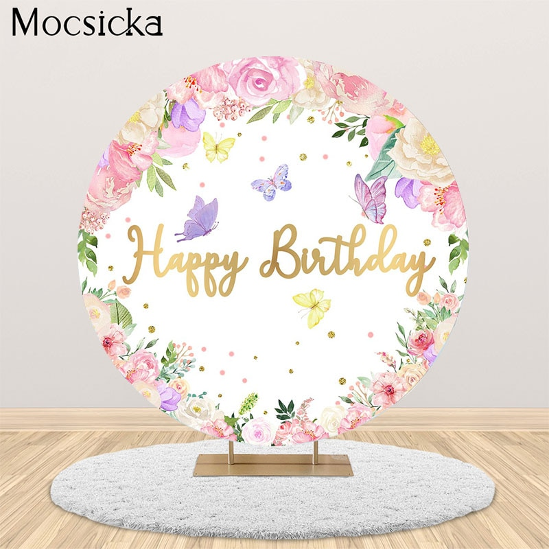 MOCSICKA Birthday Party Round Backdrop Baby Shower Circle Cake Table Decoration Photo Props Studio Booth Background independence day firecracker birthday backdrop 4th of july first birthday party photo background cake table decorations supplies
