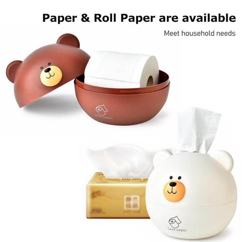 New Tissue Box Cover Paper Napkin Organizer Case Holder Cartoon Cute Bear Tray Paper Roll Napkin Storage Box Paper Dustproof Box