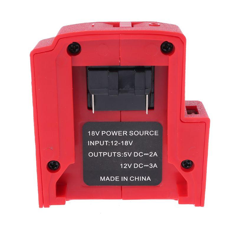 DC 12V puertos USB adaptador de cargador de batería fuente de alimentación para Milwaukee 49-24-2371 M18 batería 72XD