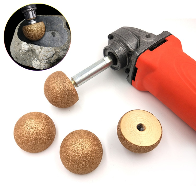 2-4pcs Diamond Brazed Round Grinding Head Abrasive Tools For Internal Arc Grinding Of Stones Engraving Tool Heads Mushroom Heads