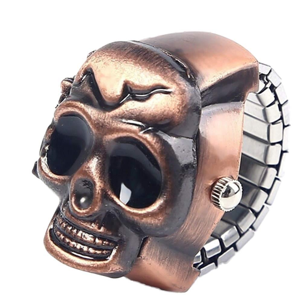 New Fashion women watches mans Quartz часы женские Simple trend reloj mujer Unisex Retro Vintage Finger Skull Ring Clamshell H51