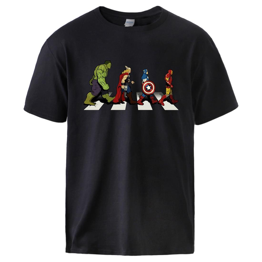 Супергерой футболки Мстители мужские летние топы Модные с коротким рукавом Повседневная Спортивная одежда крутой принт Человека-паука футболки плюс черный