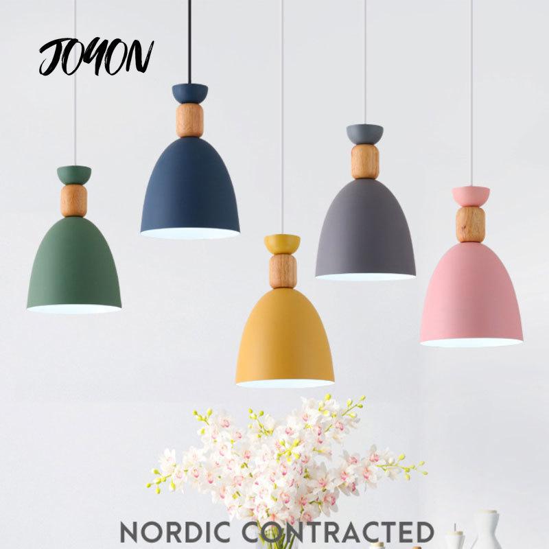 trazos nordic colour Nordic Macaron Pendant Lights LED Hanging Light Pendant Lighting Wood Modern Colour for Study Foyer Bedroom Bedside Chandeliers