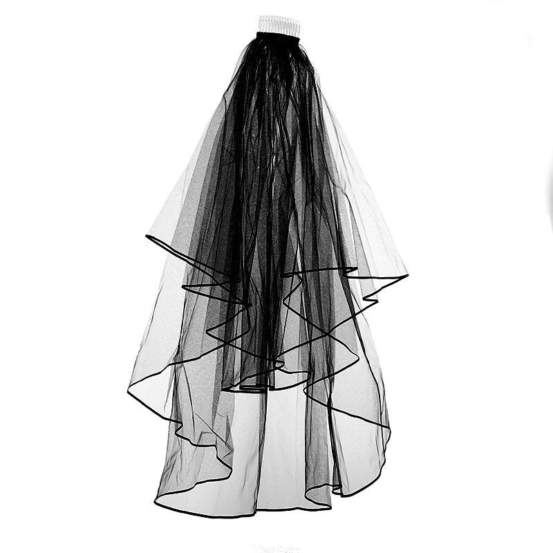 Bridal veil with insert comb black wedding dress veil wavy double-layer headdress