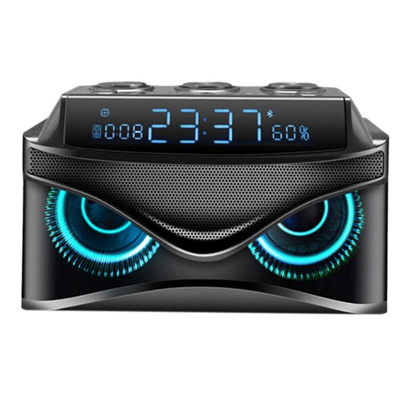 Reloj despertador de escritorio regulable Digital Led con Altavoz Bluetooth inteligente inalámbrico de 19 W/ranura micro-tf/Radio Fm/Aux