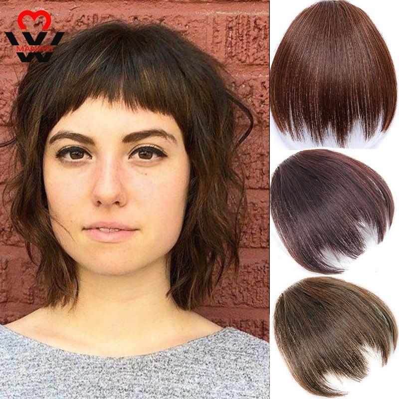 Manwei sintético blunt bang clip na extensão do cabelo feminino frente blunts franja cabelo preto marrom franja