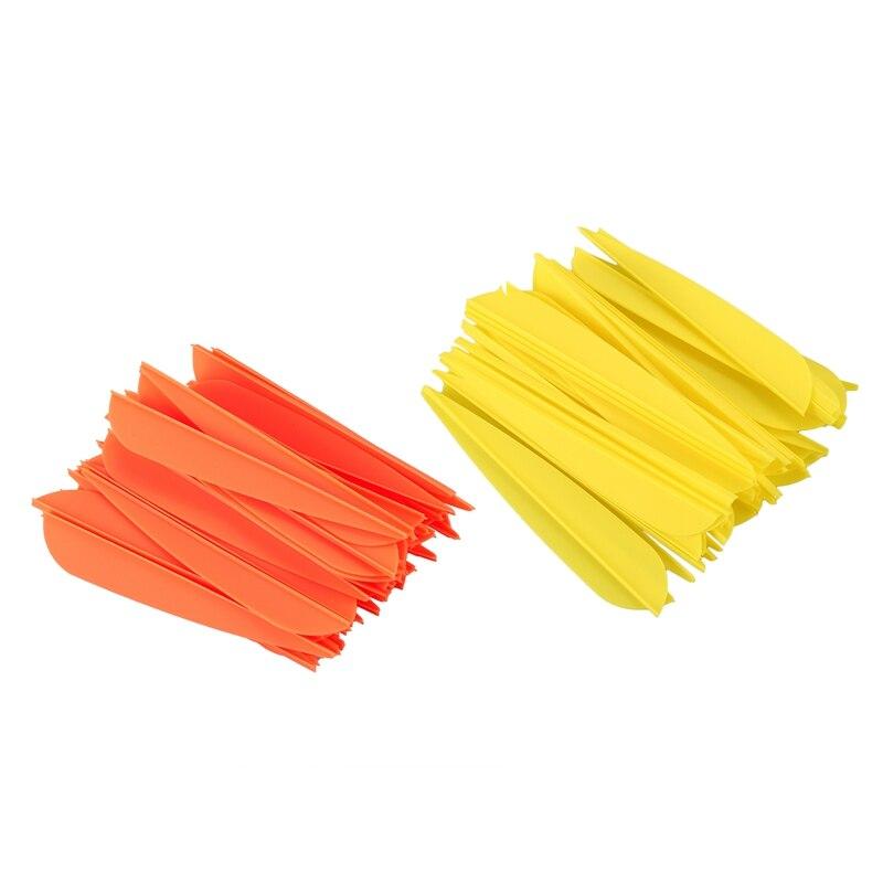 Flechas de 4 pulgadas remeras de plumas de plástico para flechas de Tiro con Arco DIY paquete de 100 (naranja y amarillo)