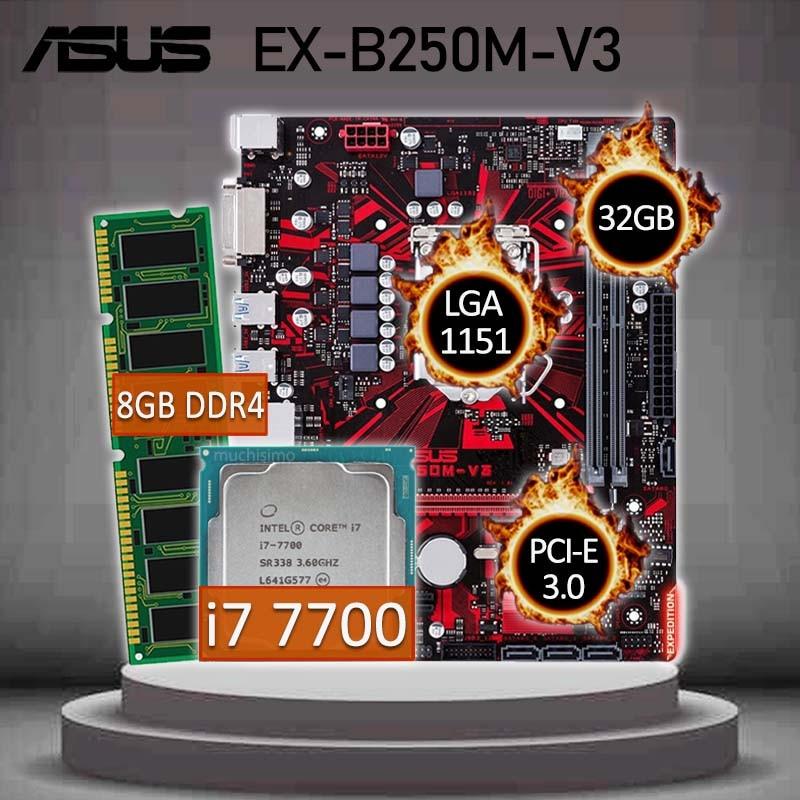 Asus EX-B250M-V3 Gaming Motherboard With Intel Core i7 7700 CPU + 8GB DDR4 Gaming Motherboard Combo i7 DDR4 Intel B250 Placa-mãe