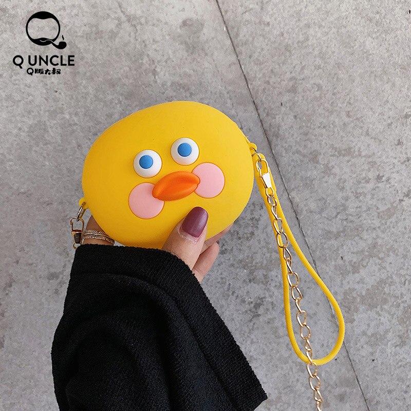 Q UNCLE Kawaii Cartoon Duck Silicone Girls Purse Crossbody Bag Candy Color Mini Bag Summer Cute Diagonal Shoulder Bag Coin Pouch