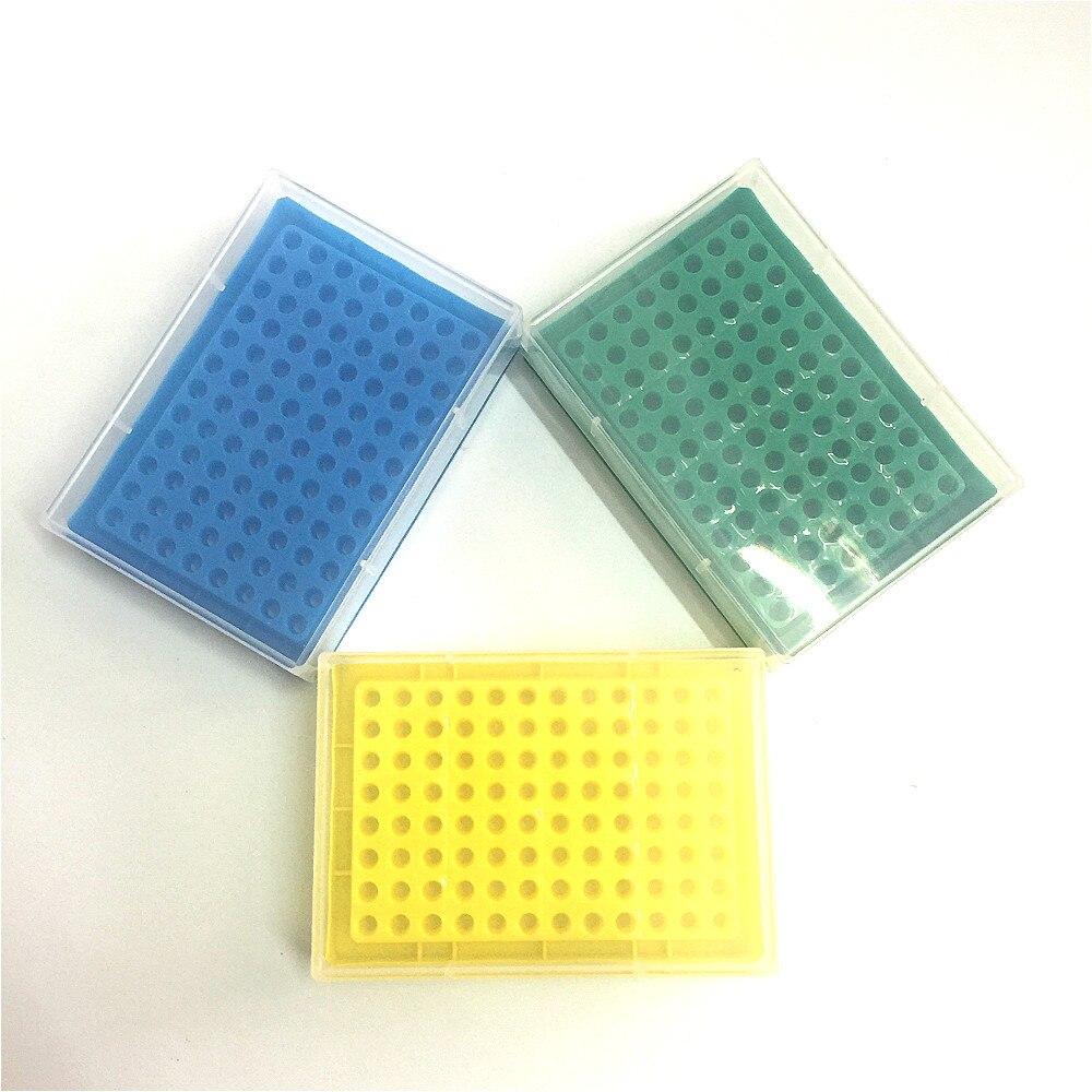 Caja de tubo de plástico PCR de 0,2 ml con 96 agujeros, recuadro de tubo de centrífuga de laboratorio, caja de almacenamiento de tubo congelado, caja de tubo de muestra de ADN 5 / PK