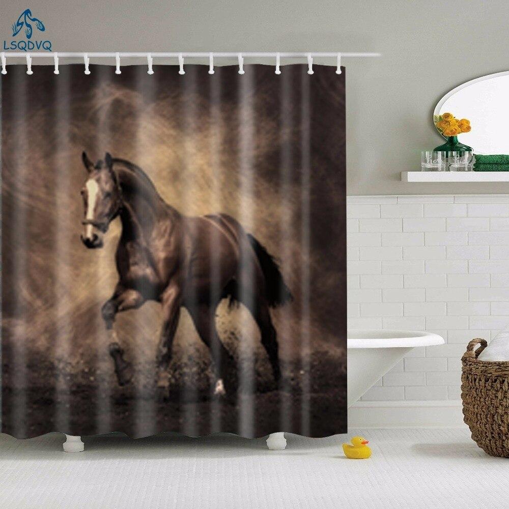 Adorável animais elefante veado cavalo polvo tecido poliéster impermeável cortina de chuveiro para decoração do banheiro com ganchos 180x180cm