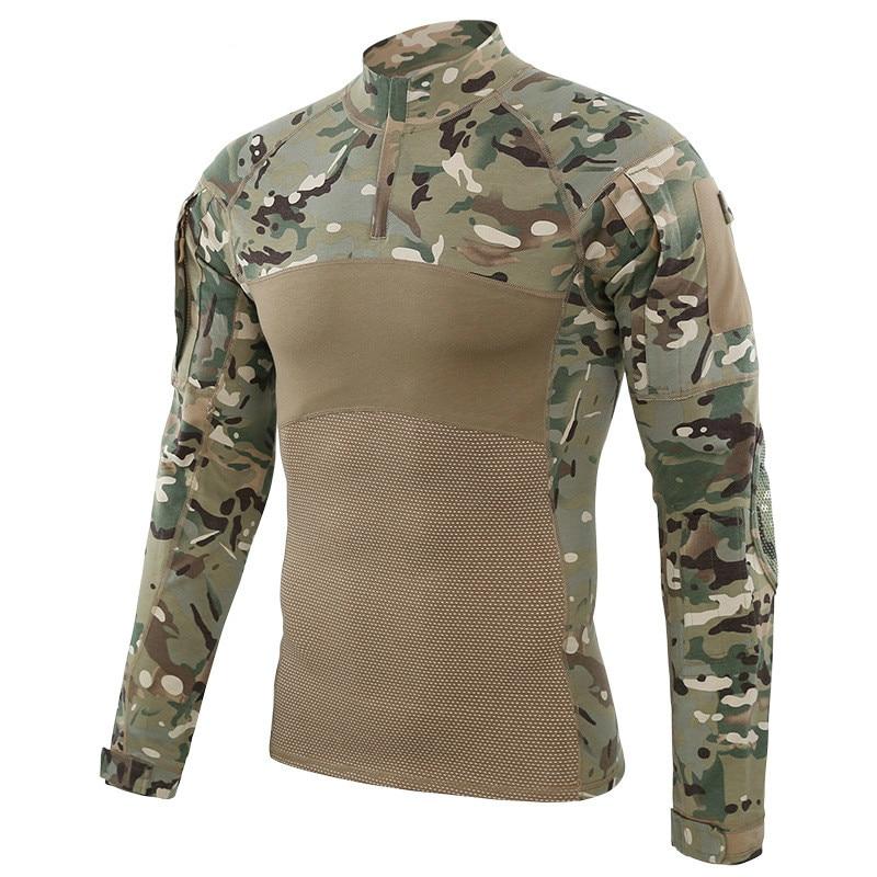 Otoño Invierno al aire libre hombres senderismo camisetas tácticas militares combate camisetas Multicolor a prueba de viento caliente escalada Running camisetas