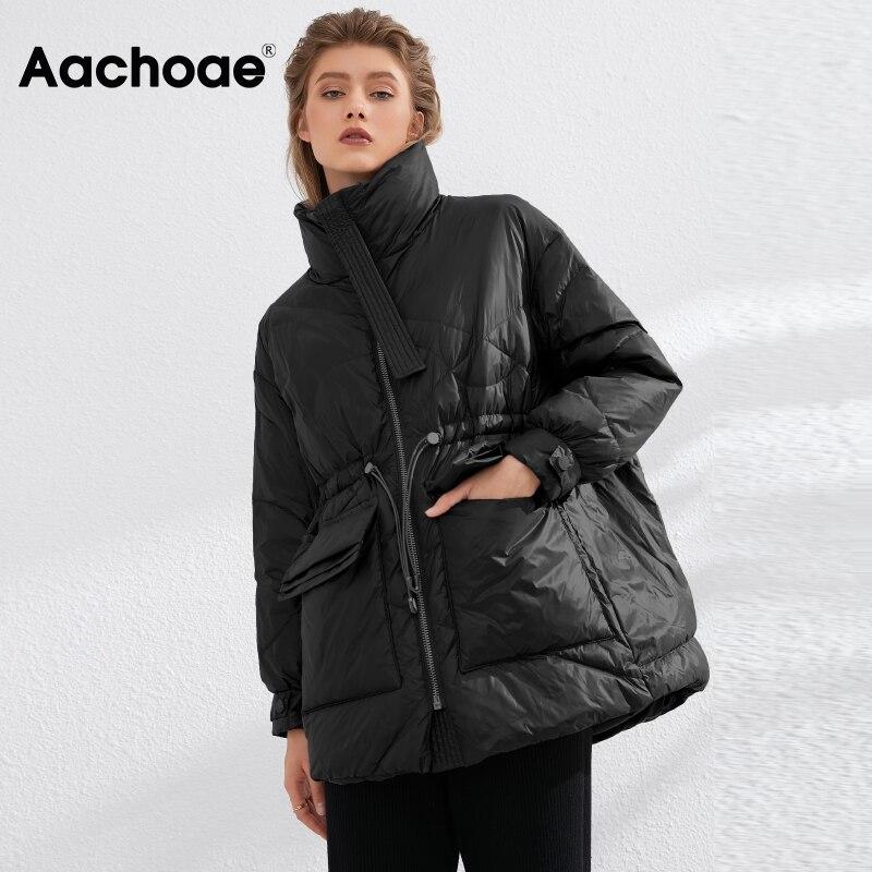 Aachoae Pure Winter Lightweight Down Jacket Women Thick Warm Batwing Long Sleeve Loose Doudoune Pock