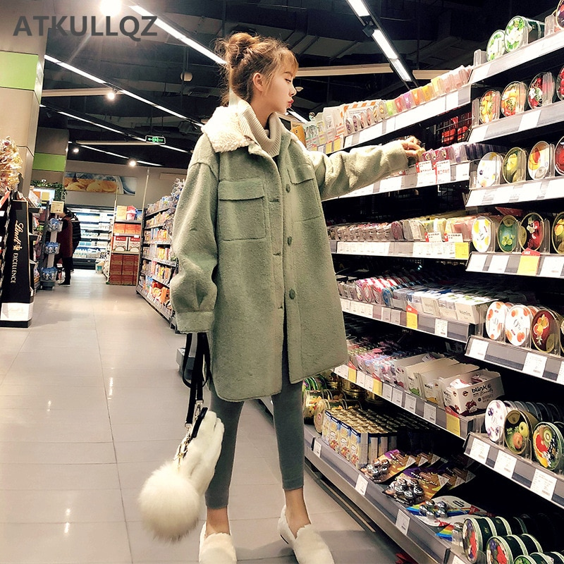 Avocado green woolen lamb fur coat female autumn and winter 2020 new imitation velvet long section l