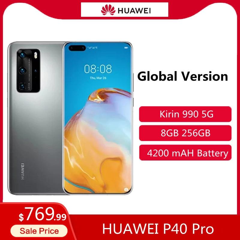 Перейти на Алиэкспресс и купить Глобальная версия HUAWEI P40 Pro 5G 6,58 дюймов Kirin 990G, четыре ядра, мобильный телефон 256 ГБ 8 ГБ сотовый телевон, BT5.1 с распознаванием лица для телефоно...