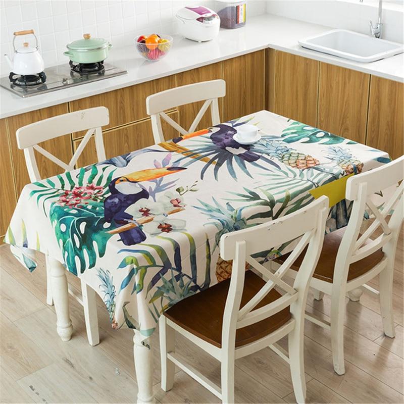 Mantel de lino Toucan mantel de mesa para cenar impermeable estampado de plantas tropicales cubierta rectangular Mesa decorativa lavable
