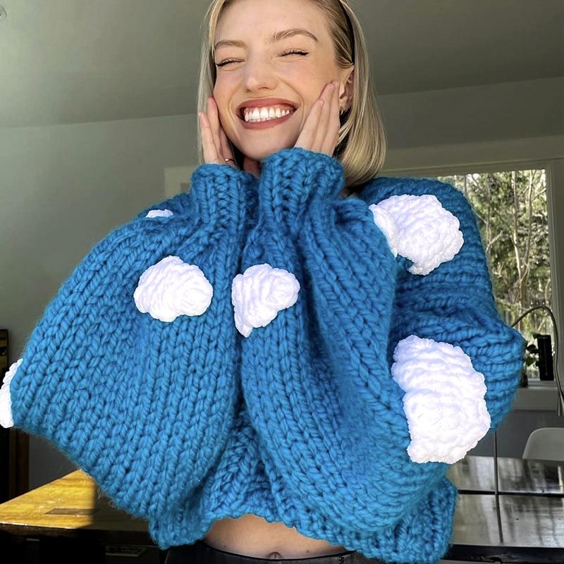 2021 Autumn Winter Women's Sweater Knitted Cardigan Loose Streetwear Sweaters Coat Cute Cloud V-Neck Long Sleeve Ladies Jacket enlarge