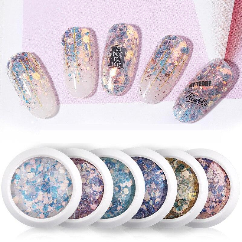 6 cajas/set de lentejuelas hexagonales de purpurina para uñas de tamaño mixto, copos rotos, polvo de encanto 3d para manicura, decoraciones de esmalte de Gel UV